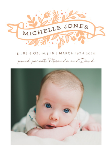 Our Floral Banner Birth Announcements incorporate traditional tattoo elements for a truly unique card.