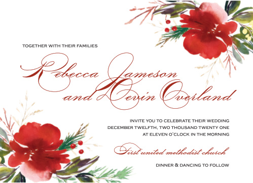 Christmas Pine Wedding Invitations offer a modern marriage of classic elegance and holiday festivity.