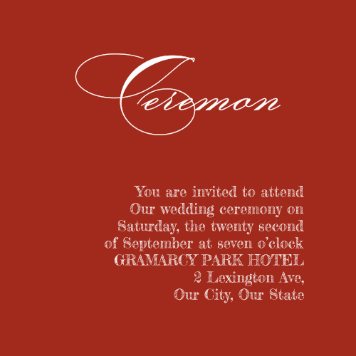 The red that so elegantly spells out your text in much of our Christmas Pine wedding suite now decorates the background of our Christmas Pine Ceremony Cards.