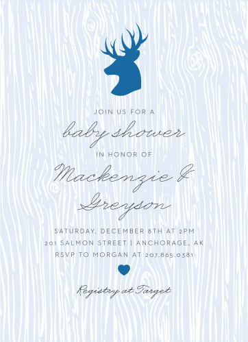 Celebrate the arrival of the newest member of your family with our Rustic Woodgrain Baby Shower Invitations. Featuring a stunning ensemble of colors, stag illustrations, and tasteful typefaces, these cards display all of the information your friends and family need in an easy-to-understand format.