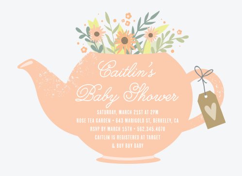 Spread the joy with our lively Tea Bouquet Baby Shower Invitations.
