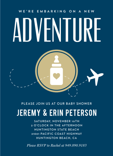 Let your excitement take flight with our New Adventure Baby Shower Invitations.