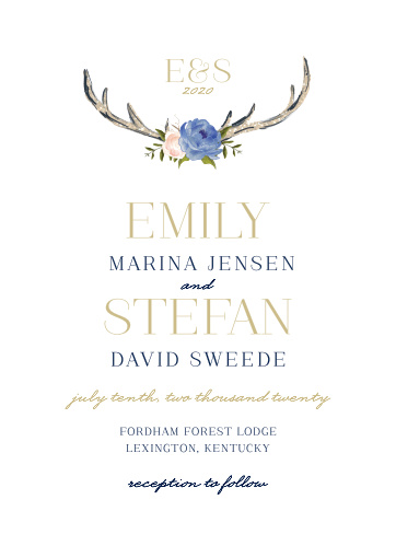 Our Floral Antlers Wedding Invitations offer a gorgeous marriage between elegant design and rustic illustration.