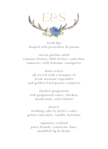 Describe every single meal option in mouth-watering detail using our Floral Antlers Wedding Menus. Featuring the same gorgeous design as the rest of the Floral Antlers wedding suite- a pair of antlers joined together by a duo of flowers, topped by your initials in bright pseudo-gold-, you can be sure that your menus are as stunning as the rest of your wedding day.