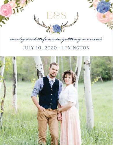 Give your friends and family plenty of advance notice with our stunning Floral Antlers Save-the-Date Cards. Decorated primarily by a photo of your choice along the bottom half of the card and with the details of your wedding day surrounded by blooming flowers, these cards are a perfect addition to your wedding plans.