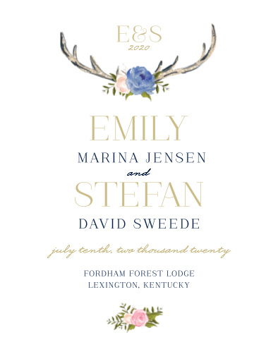 Our Floral Antlers Guest Book features stunning watercolor booms and antlers reminiscent of a desert landscape.