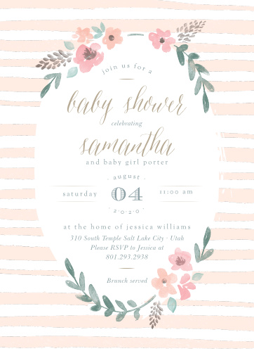 stripes flowers baby shower invitations