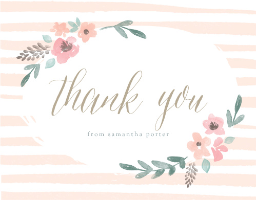 Stripes U0026 Flowers Baby Shower Thank You Cards