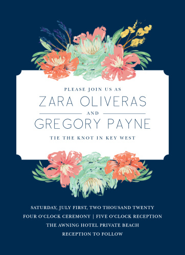 Enjoy the company of your friends and family when you use our Tropical Blooms Wedding Invitations to invite them.