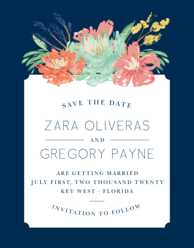 Make a spot on everyone's calendar with our Tropical Blooms Save the Date Cards.