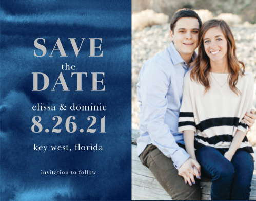 Make a place on your loved ones' calendars with our striking Indigo Watercolor Save the Date Magnets.