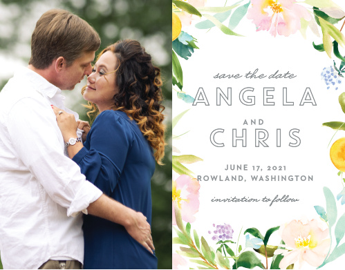 Make a spot on everyone's calendar with our energetic Summer Bouquet Save the Date Cards.