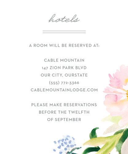 Treat your loved ones traveling from afar with our energetic Summer Bouquet Accommodation Cards.