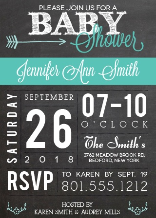 Customize the Chalkboard and Flags Baby Shower Invitation to match your shower theme.