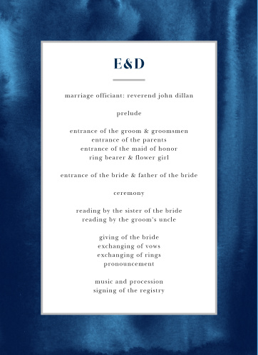 Give your special day the class and elegance it deserves with our Indigo Watercolor Wedding Programs.