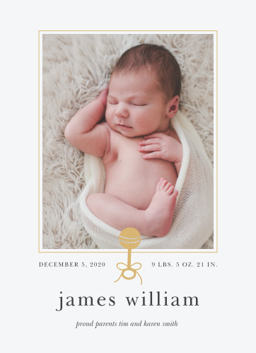 Our Golden Rattle Birth Announcements feature a simple design that makes a big impact.