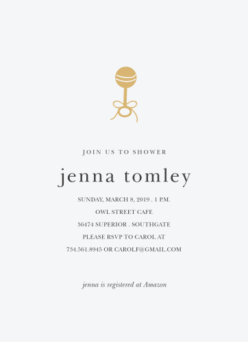 Our Golden Rattle Baby Shower Invitations feature a simple design that makes a big impact.