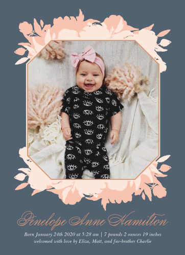 Our Pink Bouquet Birth Announcements are designed with your baby in mind.