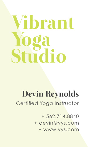 Our Yoga Studio Business Cards are as clean and modern as your studio.