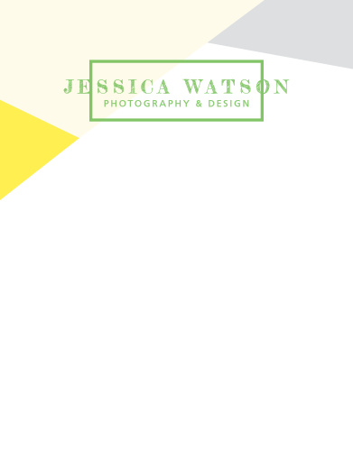Our Modern Photography Business Stationary features a geometric design with modern coloring of mustard yellow and pseudo silver.