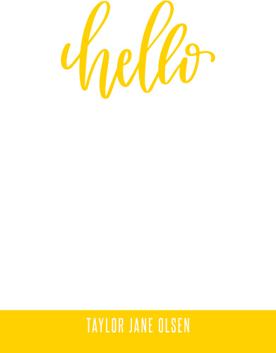 "Every business relationship begins with a ""hello""; our Bright Blogger Business Stationery utilizes that simple fact in their design, using a bright yellow background and swooping calligraphy to spell out your greeting."