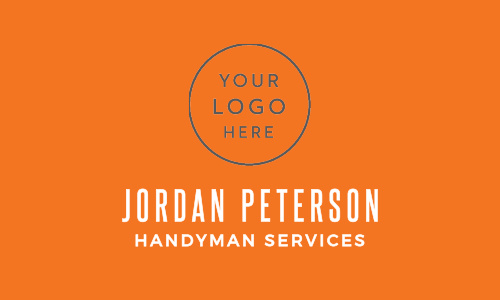 Your logo takes front and center stage on our Handyman Hammer Logo Business Cards, hovering just above your name in a clean-cut, white print- both of which contrast stunningly with the bright orange background.