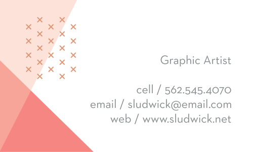 Give your potential clients a taste of your skill with our gorgeous Graphic Designer Business Cards. Clean lines and soft pinks decorate the background of the card in stunning asymmetry, while your contact details are written in an easy-to-read gray print that creates a soft contrast with the white behind it.