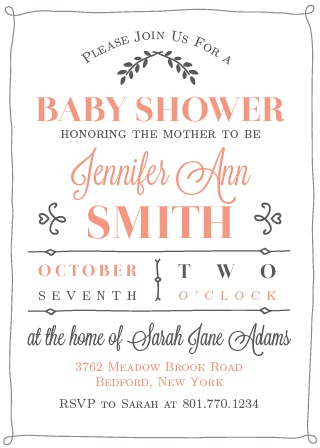 Customize and personalize the elegant and adorable baby shower invitation. Change the colors and fonts and view it in our instant online preview.
