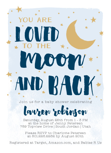 Our To The Moon Baby Shower Invitations bring a level of love and excitement as big as the night sky.