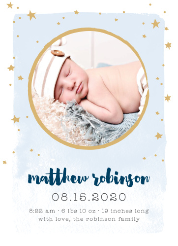 Our To The Moon Birth Announcements bring a level of love and excitement as big as the night sky.