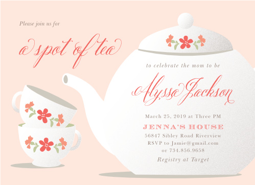 Pour a steaming cup of fun with our Spot of Tea Baby Shower Invitations, guaranteeing that you spend your baby shower surrounded by the people you care about most. A vintage teapot and a pair of matching cups decorate the front of the card, filled in with the details of the day in a mix of stunning calligraphy and classic print.