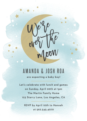 Show how far your excitement goes with our Over the Moon Baby Shower Invitations.