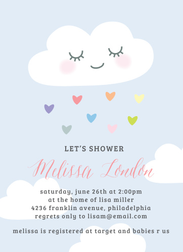 Let the love rain down with our Rainbow Cloud Baby Shower Invitations.