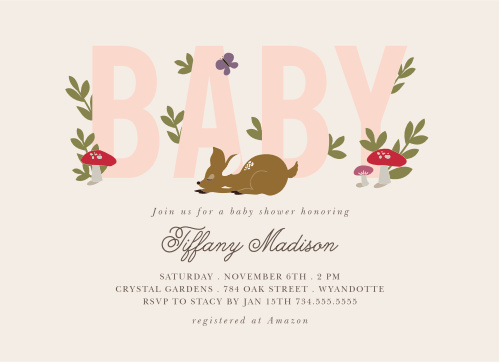 Our Woodland Deer Baby Shower Invitations will bring the warm, exciting spirit of nature to everyone you sent it to.