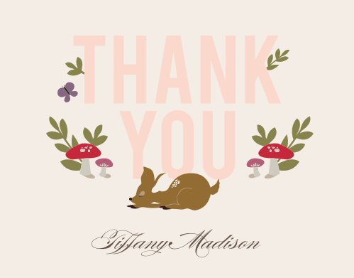 Our Woodland Deer Baby Shower Thank You Cards will bring the warm, exciting spirit of nature to everyone you sent it to.