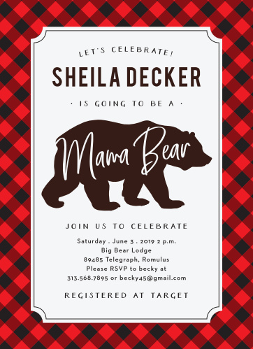 Our Mama Bear Baby Shower Invitations will warm your soul.