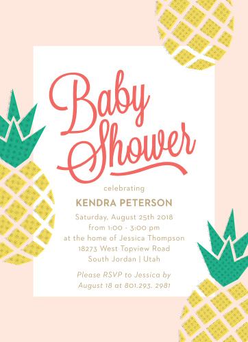Our Pineapple Paradise Baby Shower Invitations utilize offset printing to bring a pop of color and a fresh look.