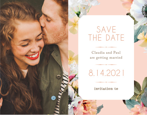 Our Dawn Flowers Save-the-Date Magnets are heavily reminiscent of spring or summer, and are lovely enough that they may just inspire your wedding theme instead of the other way around!