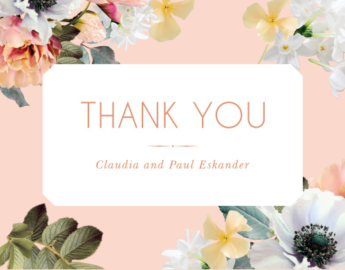 Our Dawn Flowers Wedding Thank You Cards are heavily reminiscent of spring or summer.