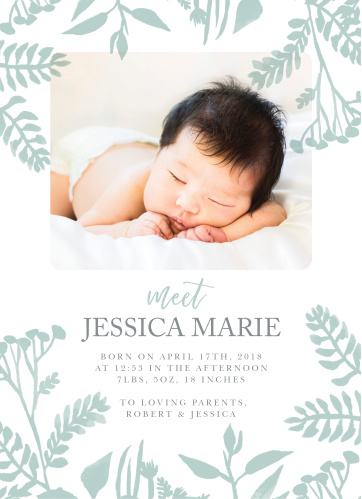If you're looking for a hand-made feel for your announcements, look no further than our Painted Botanicals Birth Announcements.