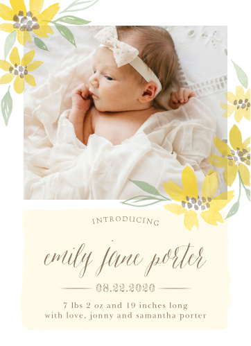 Send out a ray of sunshine with our Sunflower Summer Birth Announcements.