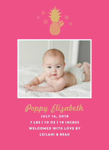 Send an Aloha from your baby to your loved ones with our Pineapple Luau Birth Announcements.
