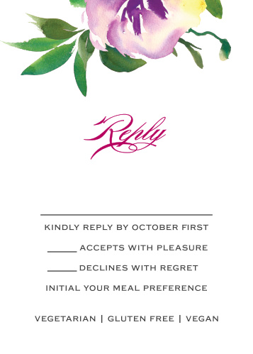 Simplify your wedding planning and skip the guesswork with our Fresh Cut Flowers Response Cards.