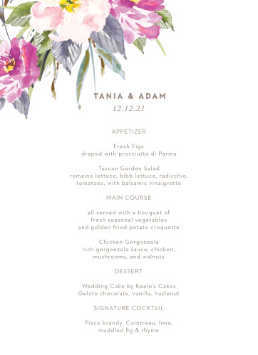 Let your love flower with our Simple Spring Wedding Menus.