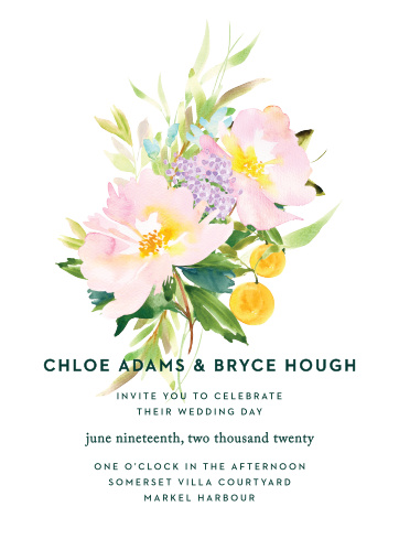 The Citrus Flowers Wedding Invitations display a large, pastel, floral arrangement atop a bright white background.
