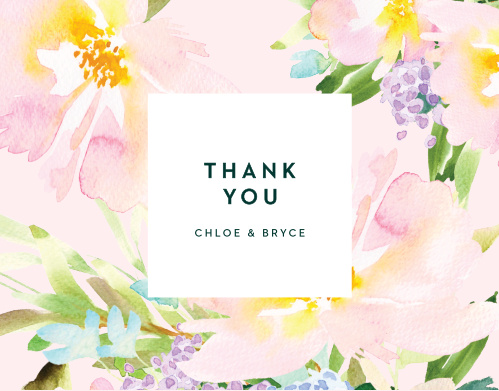 The Citrus Flowers Thank You Cards display a smoothie pink border that is adorned with pastel, painted florals.