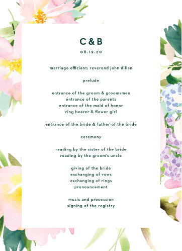 The Citrus Flowers Wedding Programs are framed by pastel, painted florals, with your ceremony details boldly stated in the center of the card, atop a bright white backdrop.