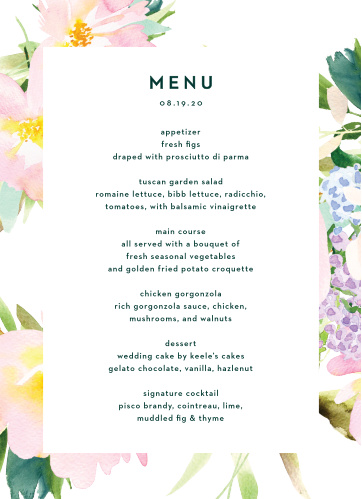 The Citrus Flowers Wedding Menus are framed by pastel, painted florals, with your menu details boldly stated in the center of the card, atop a bright white backdrop.