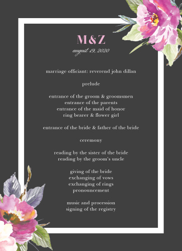 Impress your friends and family when you use our Luxe Roses Wedding Programs.