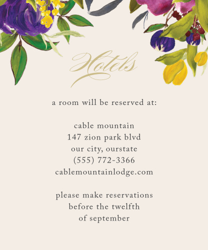 Treat your loved ones traveling from afar with our stunning Regal Arrangement Accommodation Cards.